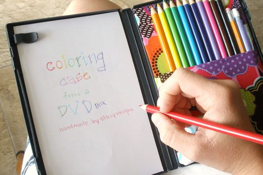 Coloring case from old DVD box.  Great for car travel and doc office visits. by Stacy Vaughn, apartmenttherapy. #Kids #Coloring_Case #Upcycle #DVD_Case #apartmenttherapy #Stacy_Vaughn