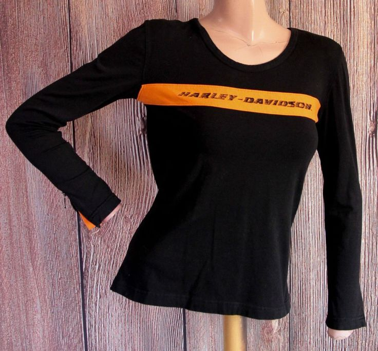 Womens Harley Davidson shirt black orange long sleeves with zipper USA small D21 #HarleyDavidson #KnitTop #Casual