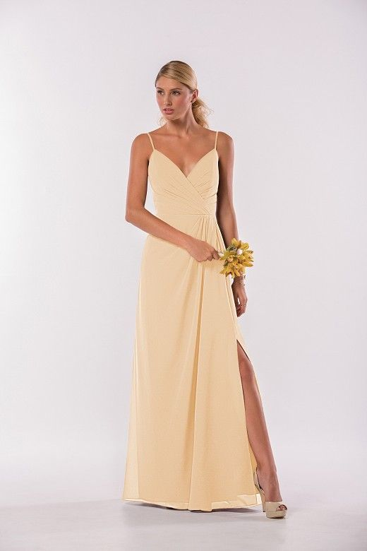 a9f10b3860 P186003 Long V-neck Georgette Bridesmaid Dress with Spaghetti Straps ...