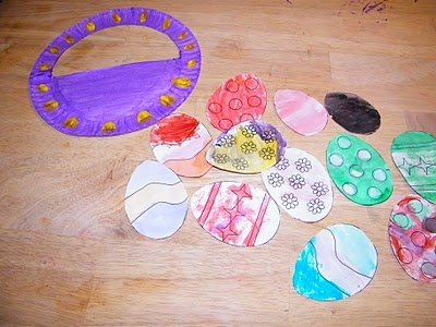 95 best easter preschool ideas images on pinterest easter paper plate easter basket with egg template negle Images