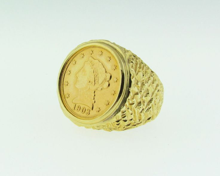 1903 Quarter Eagle gold coin ring, 14 K gold by VintageJewelryBazaar on Etsy