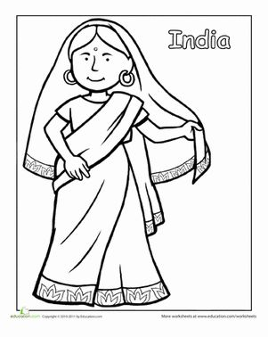 A coloring sheet for 1st graders about traditional clothing from around the world. This one is a picture of an Indian girl wearing traditional dress.