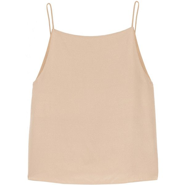 T by Alexander Wang Satin-trimmed silk camisole ($106) ❤ liked on Polyvore featuring tops, shirts, crop tops, tank tops, neutral, cropped cami, loose crop tank, pink shirts, loose fitting tank tops and loose tank tops