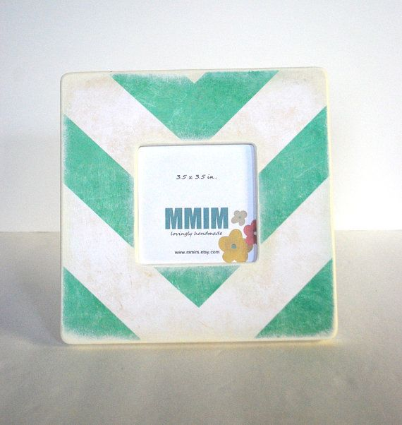Mint Green Large Chevron Picture Frame by Mmim on Etsy, $17.00
