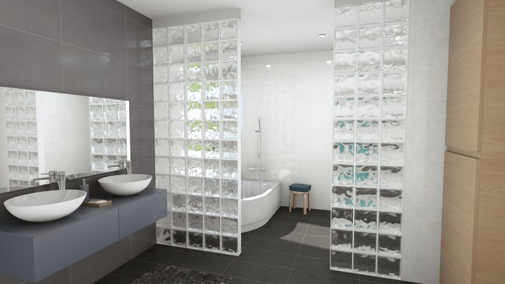 Salle de bain grise avec pavés de verre Intérieurs maisons 3D