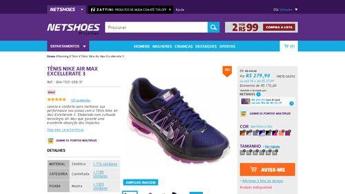 [Netshoes] Tênis Nike Air Max Excellerate 3 - Feminino - 0888409563810 - de R$ 263,60 por R$ 237,92 (9% de desconto)