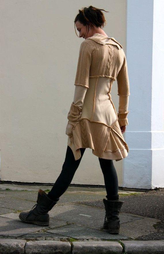 Upcycled Cashmere Sweater | Caramel Beige Cashmere Upcycled Sweater Dress Made in England UK