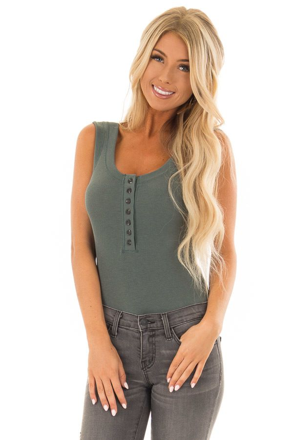 e16bafc0feb24 Hunter Green Ribbed Tank Top Bodysuit with Buttons