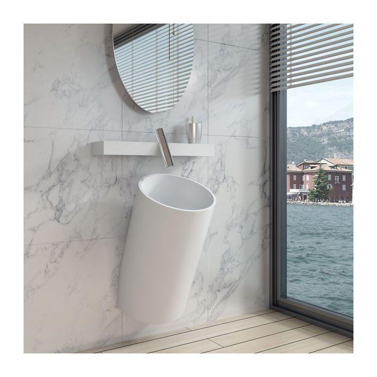 Cette vasque totem cylindrique suspendue possède un style inimitable, très tendance, idéal pour une salle de bain contemporaine