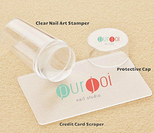Clear Nail Stamper With Cap Clear Nail Art Stampers Clear Jelly Nail Art Stamping Soft Squishy Nail Art Kit DIY Nail Stampers (Clear Stamper W/Cap) Purjoi Nail Studio