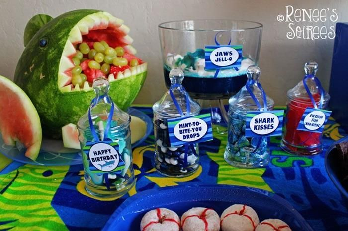 shark sea water ocean beach splash themed birthday party ideas