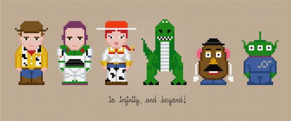Toy Story Characters Cross Stitch PDF Pattern by pixelpowerdesign, USD5.00 Ha...