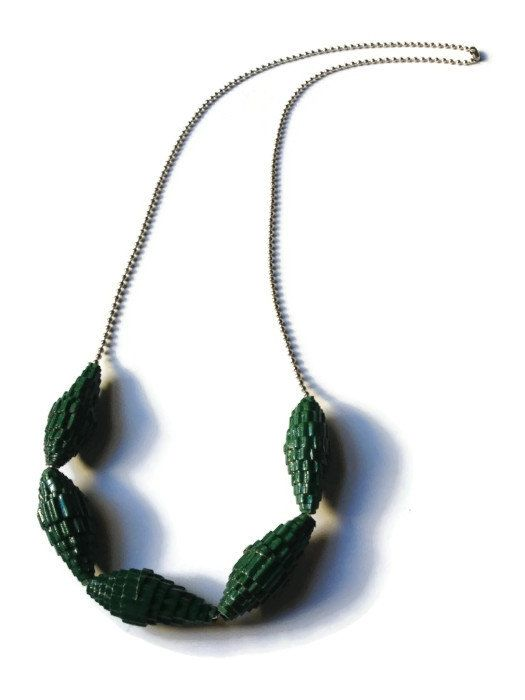 Bottle Green Paper Bead Necklace Corrugated by PurpleSmoothie, $15.00