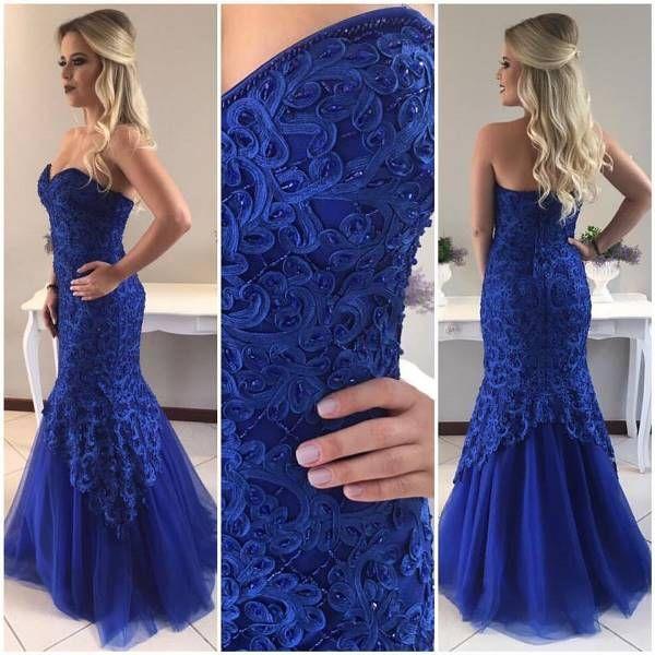 vestido de festa azul royal sereia