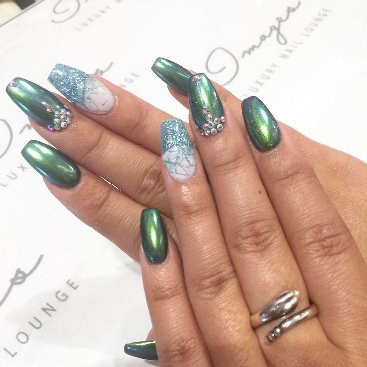 Green chrome nails anyone luxury nails fashion nails