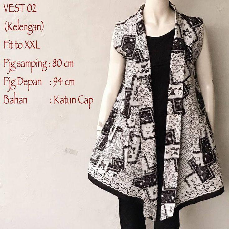 Model Cardigan Batik Vest Tanpa Lengan Motif Kelengan yang elegan yang di sajikan dengan model yang modern