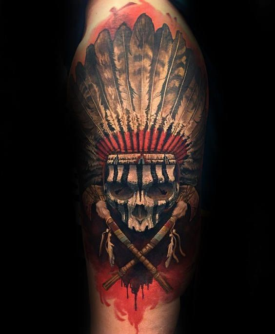 Awesome Indian Skull Mens Half Sleeve Tattoo Ideas With Native American Design