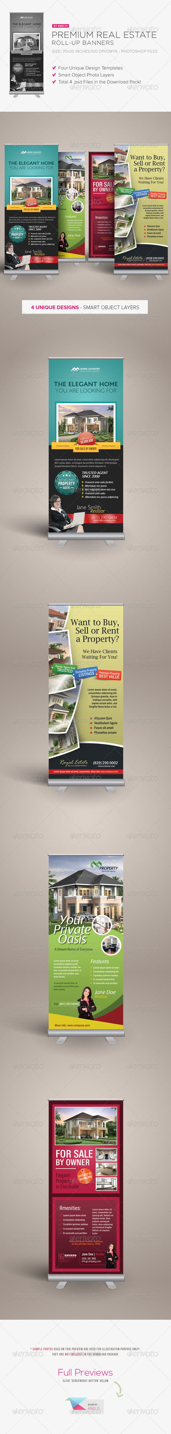 Premium Real Estate Roll-up Banners #GraphicRiver Premium Real Estate Roll-up Ba...