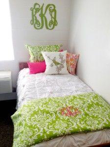 Dorm Room Decorating Ideas pink and green custom dorm bedding – Decor 2 Ur Door