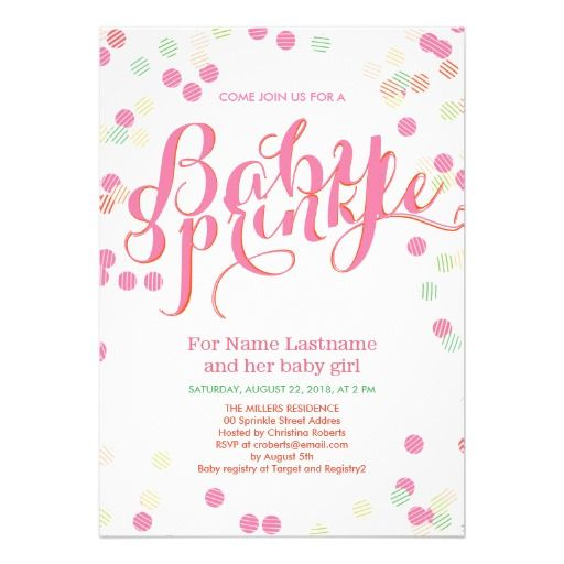 colorful modern pink girl baby sprinkle invitation best baby