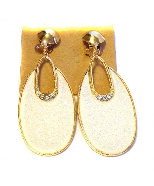 Clip On Earrings Oval Hoop Dangle Ivory White