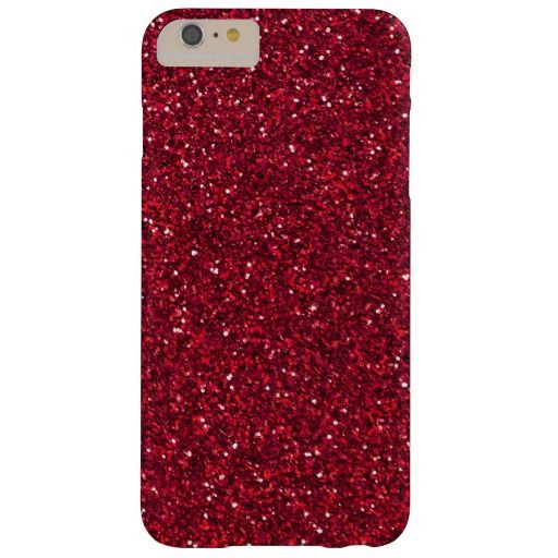 Girly Stylish Red Glitter Barely There iPhone 6 Plus Case