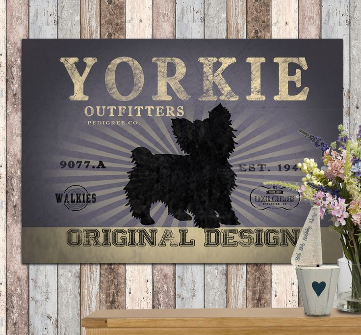 Yorkshire terrier canvas design. comes in 4 different colours. you can personalise this print with your dog's name and even choose your own colour to match your walls!  www.monkeyofthenorth.co.uk