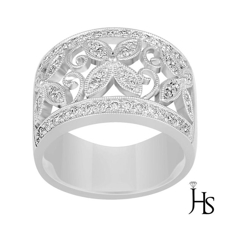 Women's 18K White Gold 0.50 CT G - H & SI 54 Round Diamond Pave Set Fashion Ring #WomensFancyFashionRingJHS