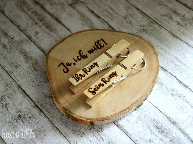 """Ringkissen Holz """"Ja, ich will!"""" Wäscheklammern"""