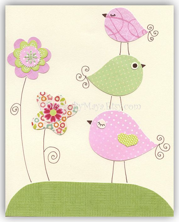 Nursery Print Art Decor Kids Print Animals birds...light pink light green flowers