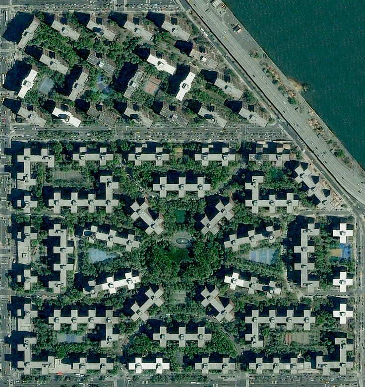 Stuyvesant Town and Peter Cooper Village in New York. To learn how this massive development got its layout and structure, check out the full article here:   https://www.dnainfo.com/new-york/20160727/stuy-town/even-from-space-stuy-town-looks-totally-unique?utm_source=DO&utm_medium=social&utm_campaign=portrait