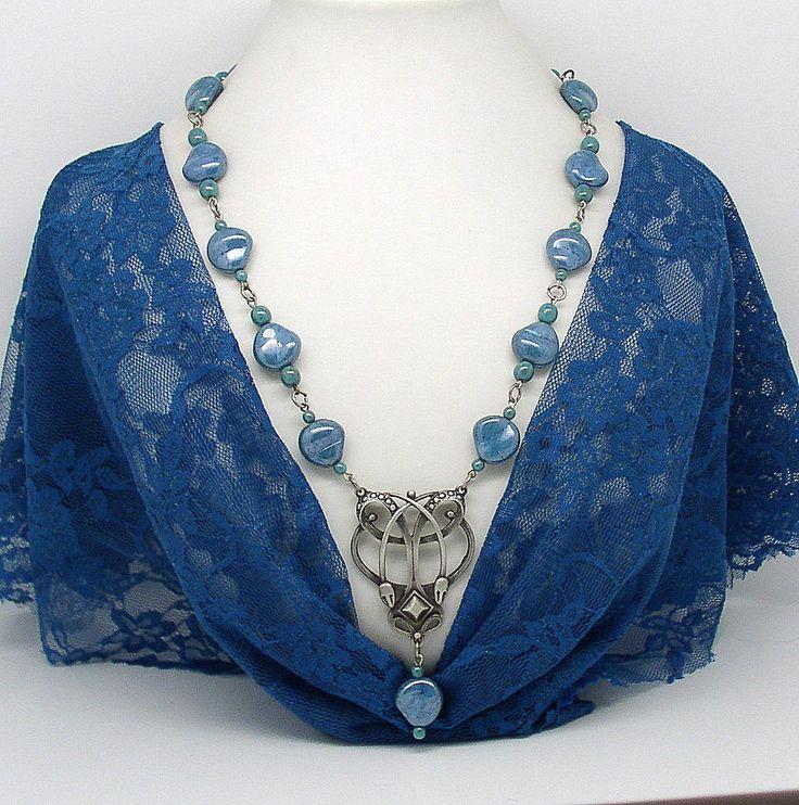 NECK 10 Art Nouveau style beaded necklace by ClassOfGlass on Etsy