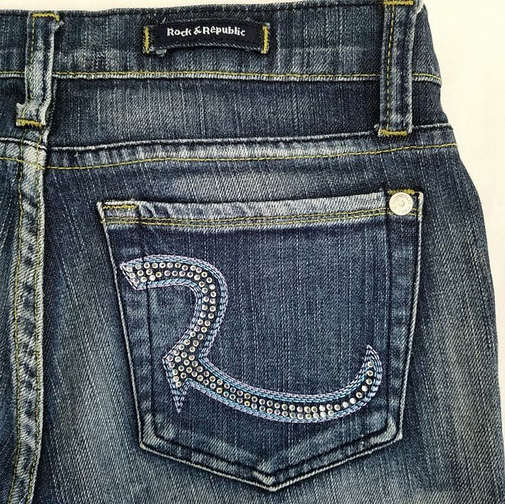 Rock and Republic Jeans Size 30 x 31 Crystal Roth Boot Cut 9051 Addict Wash | eBay