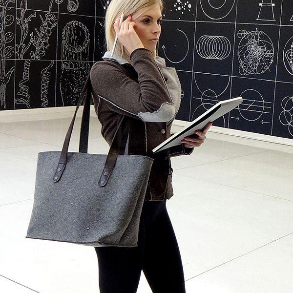 shoulder bag - ANNA - dark melange 1