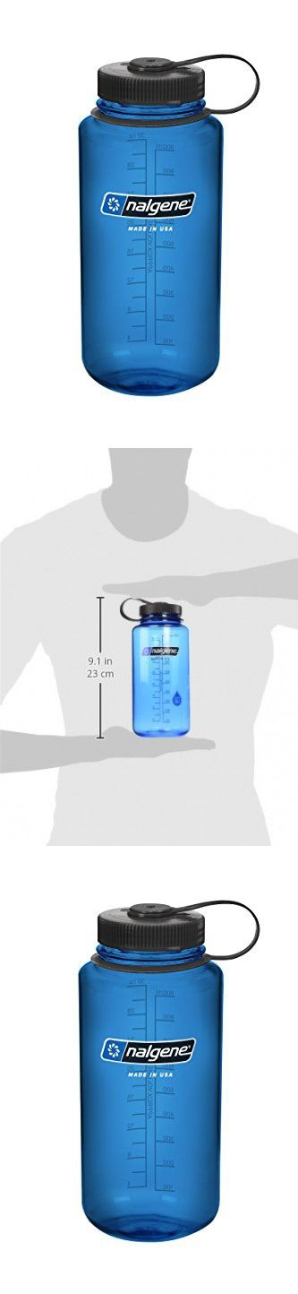 Nalgene Tritan Wide Mouth BPA-Free Water Bottle, Blue w/ Black Cap, 32-Ounces
