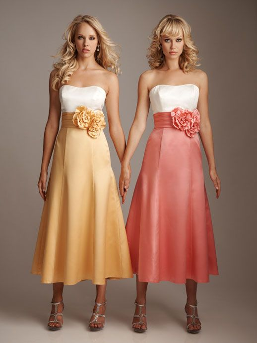 Fancy A-line empire waist satin dress for bridesmaid