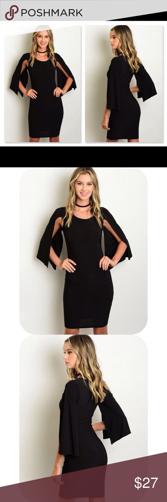 STUNNING BLACK BODYCON DRESS W/CAPE STYLE SLEEVES NWOT and made by auditions.  This stunning dress is done in black with a scoop neck, body hugging fit with open, cape style sleeves.  It hugs every curve and is quite stretchy.  It is made of 96% polyester and 4% spandex Dresses
