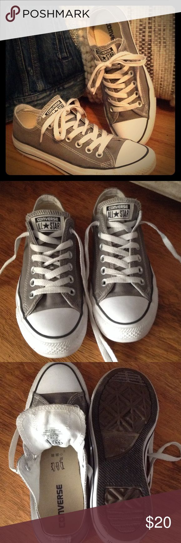 Converse All Star Shoes Size 7 women. Worn only a few times. Grey with white seams. Converse Shoes Sneakers