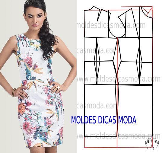 Faça a analise de forma detalhada do desenho do molde do vestido tubinho. Vestido simples e elegante ao estilo de uma mulher moderna e ativa.