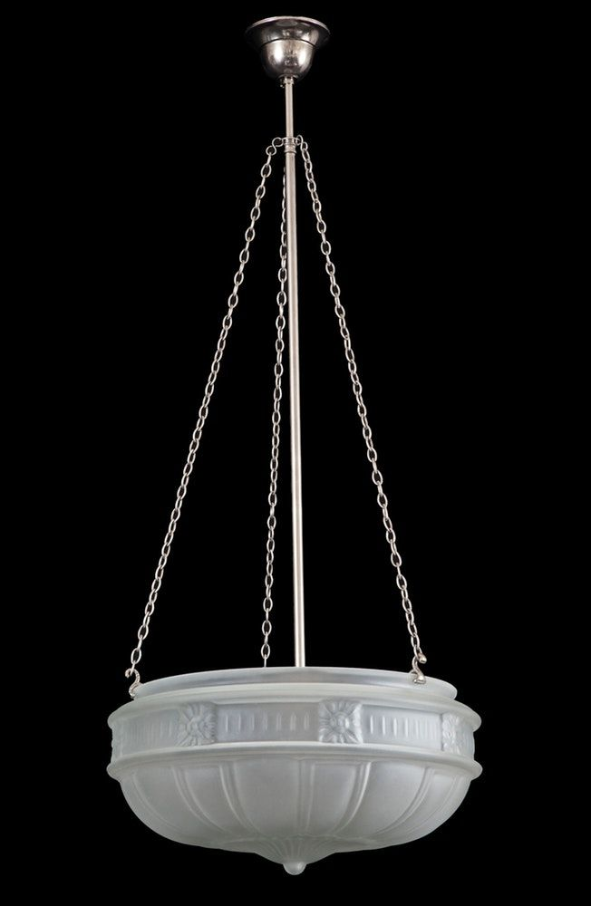 Rod 3 Chain Suspension In Hand Done Antique Nickel Finish Ideal For Californian Bungalow Rooms Or Hallw Entry Lighting Nickel Lighting Antique Pendant Light