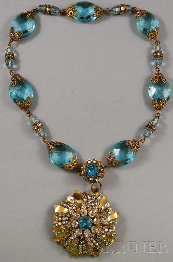 Vintage Miriam Haskell Gilt Glass And Rhinestone Necklace