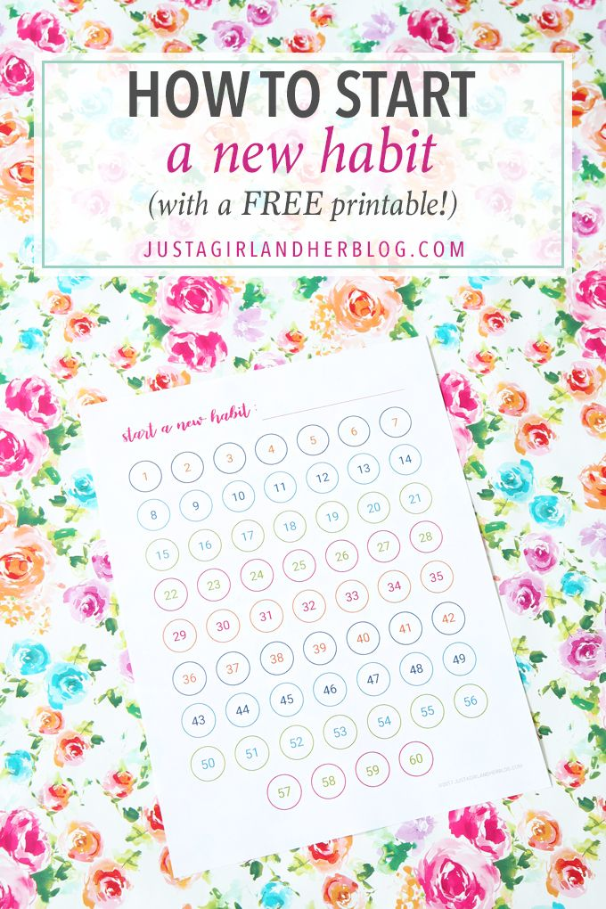 How to Start a New Habit (with a FREE printable!) - Just a Girl and Her Blog