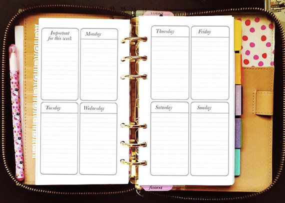 printable planner inserts personal vertical weekly for