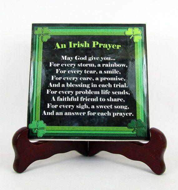 Religious gifts, An Irish Prayer wall hanging ceramic tile handmade - Catholic Ireland wall decor / plaque shamrock holy art religious gift