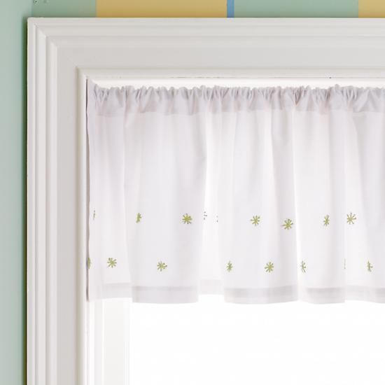 The Land of Nod | Kids' Curtains: Kids Green Hand-Embroidered Star Window Valance for neutral kids room