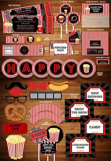 Printable Movie Night Birthday Party Package Decorations   Movie Ticket Birthday Invitation   Movie Under the Stars   Fundraiser Event   Kids Party   Family Movie Night Party   Outdoor Movie   Theater   Popcorn Box   DIY   Digital File   Banner   Cupcake Toppers   Signs   Food Labels   Favor Tags   Water Bottle Labels   www.dazzleexpressions.com