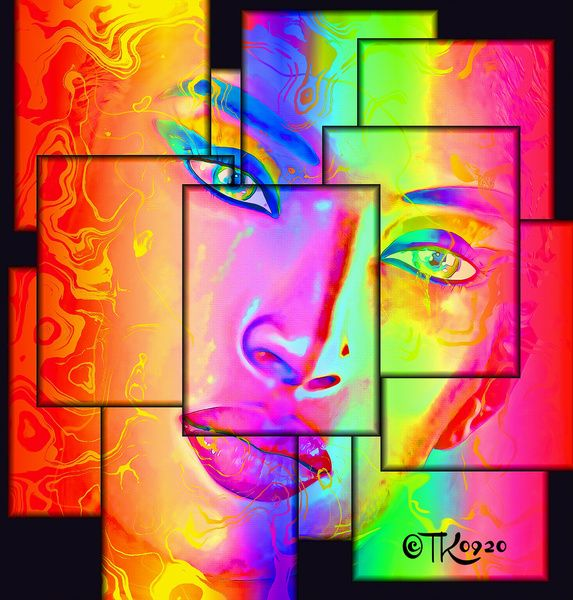 Her Bits and Pieces - Abstract Art of Woman's Face Art Print