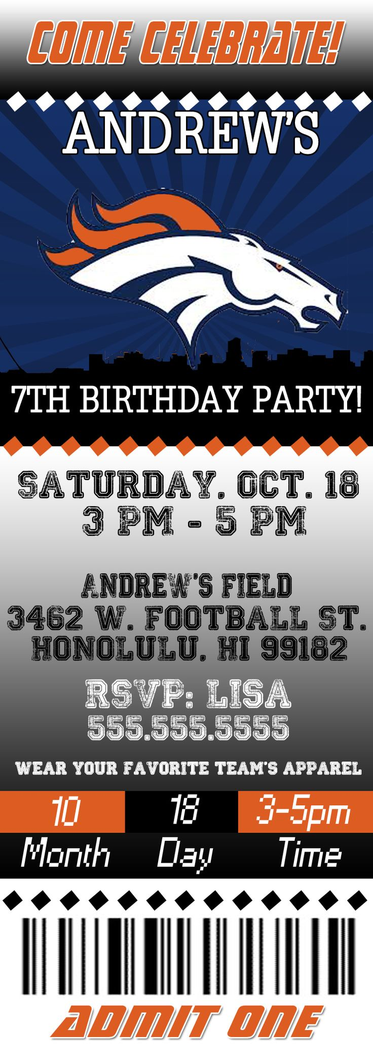 NFL Denver Broncos Ticket Birthday Invitation