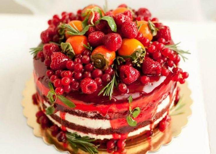 Вернулся, открытка фруктовый торт