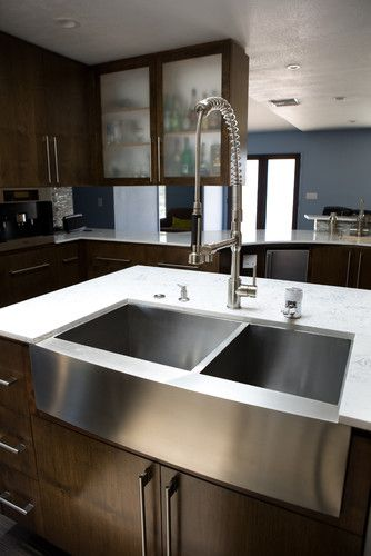 Stainless Steel Farmhouse Sink - modern - kitchen sinks - los angeles - by Lavello Sinks- hmmm easier to keep clean than typical ceramic farmhouse sink?!